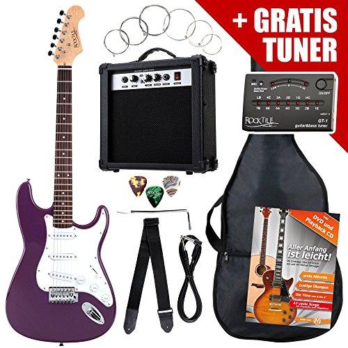 Rocktile ST-Pack Komplettset E-Gitarre Lila (Verstärker, Stimmgerät, Tremolo, Tasche, Kabel, Gurt, Plecs, Ersatzsaiten und Schule mit CD/DVD)