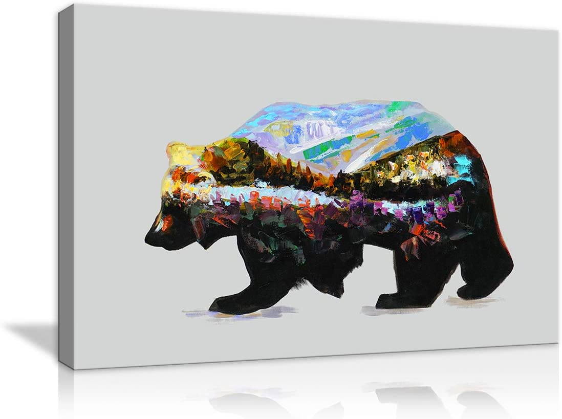 Bright Colourful Bear Animals MULTI CANVAS WALL ART Picture Print