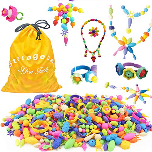 (Edycur 500 Pcs Arty Snap Pop Beads Set with Storage Bag, Creative DIY Jewelry Kit for Headwear Necklace Earrings Bracelets Rings , Idea Birthday & Christmas Gifts Toys for Kids)