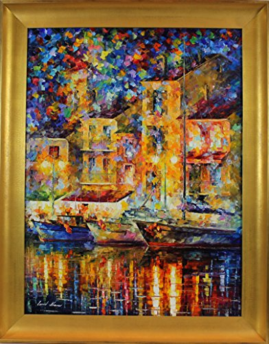 IN THE OLD DOCK is the ONE-OF-A-KIND, ORIGINAL hand painted oil painting on Canvas by Leonid AFREMOV