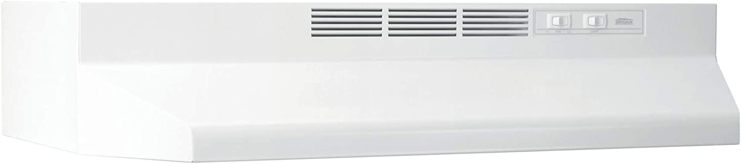 Broan-NuTone 413001 Non-Ducted Ductless Range Hood with Lights Exhaust Fan for Under Cabinet, 30-Inch, White