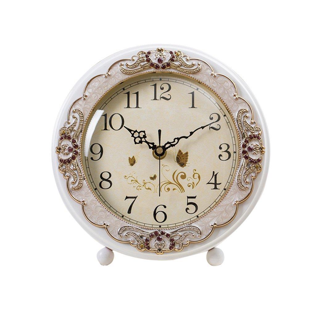 HAOFAY clock - Retro Vintage Mantel/European White Silent Quartz Clock Desk and Shelf Clock