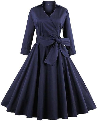 ZAFUL Vintage Vestito Donna Eleganti Anni 50 Cocktail Partito Swing Abito A-Line Invernale Dress