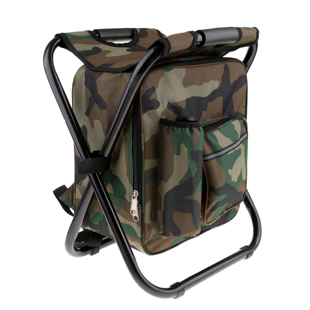 3 in 1 Multifunktions perfk Faltbarer Sitzrucksack Rucksack Stuhl Camping Hocker mit K/ühltasche
