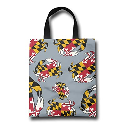 Maryland State Flag Crab Women Reusable Shopping Bag Cute Portable Gym