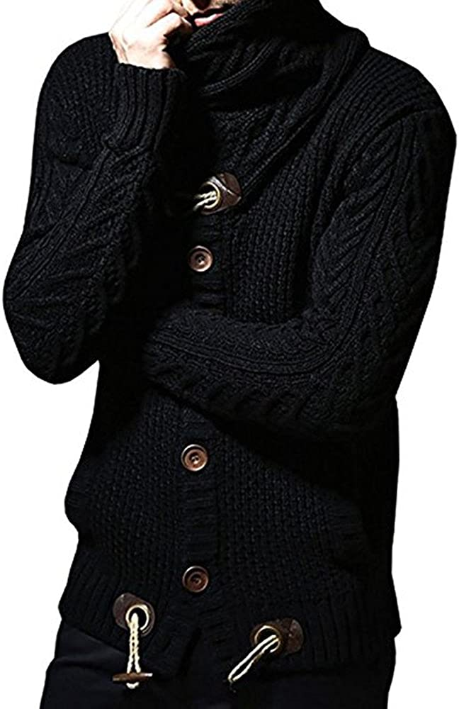 Men's Winter Chunky Collared Cardigan Sweaters Warm Thick Cable Knitted knitwear