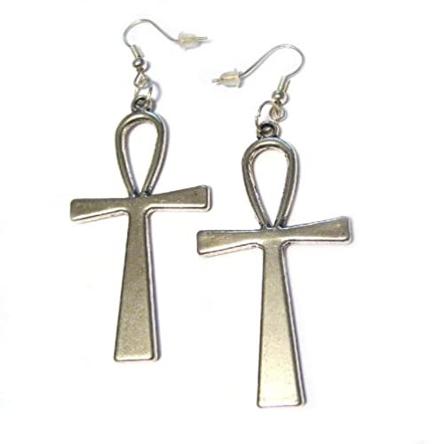 amazon com big egyptian 3d ankh silver plated charm french hook 2