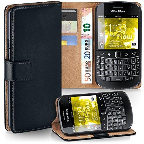 OneFlow Tasche für BlackBerry Bold 9900 Hülle Cover mit Kartenfächern | Flip Case Etui Handyhülle zum Aufklappen | Handytasche Schutzhülle Zubehör Handy Schutz Bumper in Schwarz