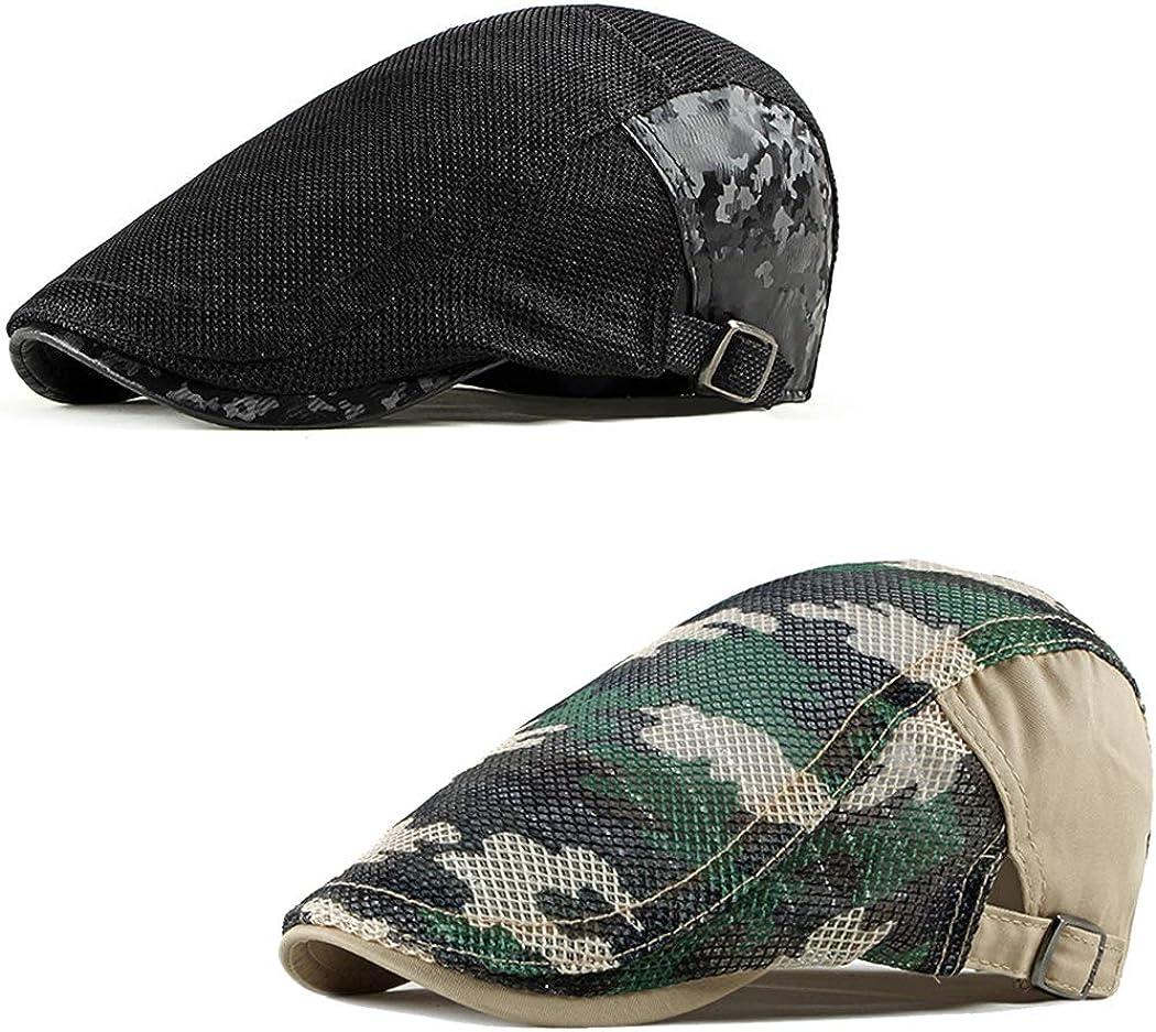 DOCILA 2 Pack Camo Newsboy Cap for Men Cozy Cotton Flat Ivy Gatsbay Hat Breathable Mesh Outdoor Cabbie Beret Hat