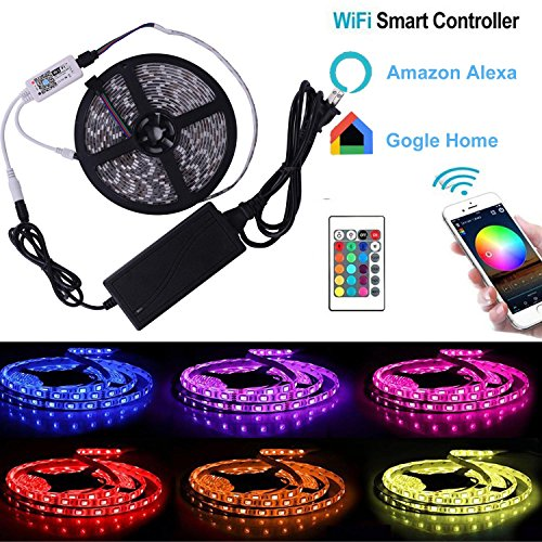 LED Light Strip, Compatible with Alexa,Google Assistant, 300 Units 5050 SMD LEDs Tape Lighting, 16.4ft 5m Smart Phone Controlled LightStrip Kit Flexible RGB Rope Lights For iPhone 6 7 8 X Phone Mobile (Out Strip)