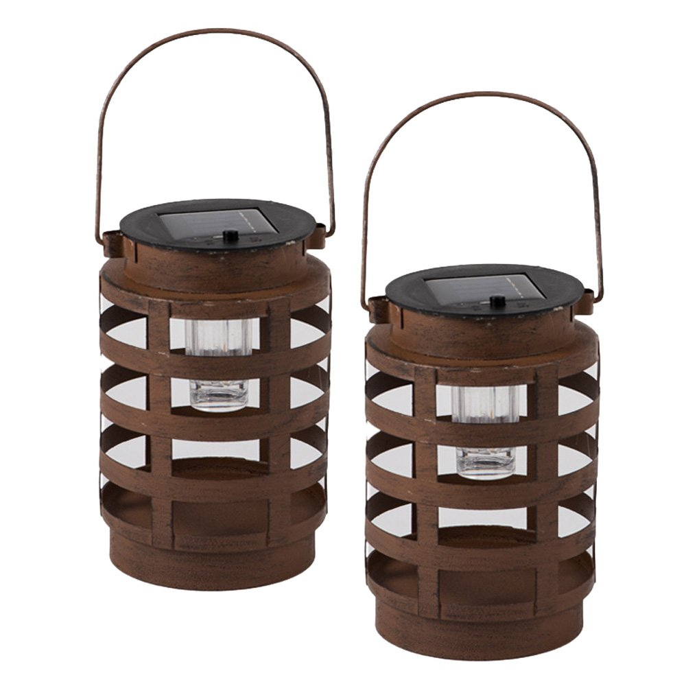 Premium Solar Powered LED Lantern by Clever Creations | 2 Pack Decorative/Camping Hanging Lanterns | Quality Stainless Steel Construction | Indoor or Outdoor Use | Rustic Design