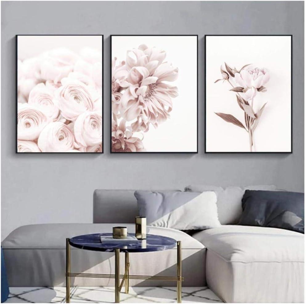 WQFairy Lámina artística Flores Arte de la Pared Peonía Carteles Floral Rosa Lienzo Pintura Sala de Estar Dormitorio Decoración Imágenes (3 Piezas 40x60 cm sin Marco)
