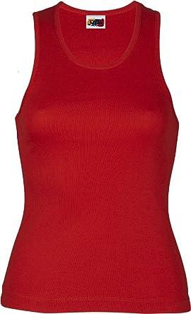 Camiseta Tirante Ancho Mujer 100% ALGODÓN ROJA: Amazon.es: Ropa y accesorios