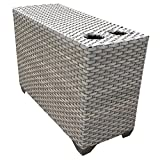 TKC Florence Patio Wicker End Table in Gray Stone