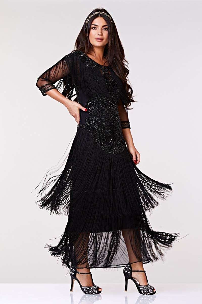 1920s Dresses UK | Flapper, Gatsby, Downton Abbey Dress gatsbylady london Glam Fringe Flapper Maxi Dress in Black £169.00 AT vintagedancer.com
