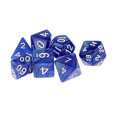 7pcs / Set Juguetes Juegos Matemáticos TRPG Dados Múltiples Caras Patrón - Azul: Juguetes y juegos