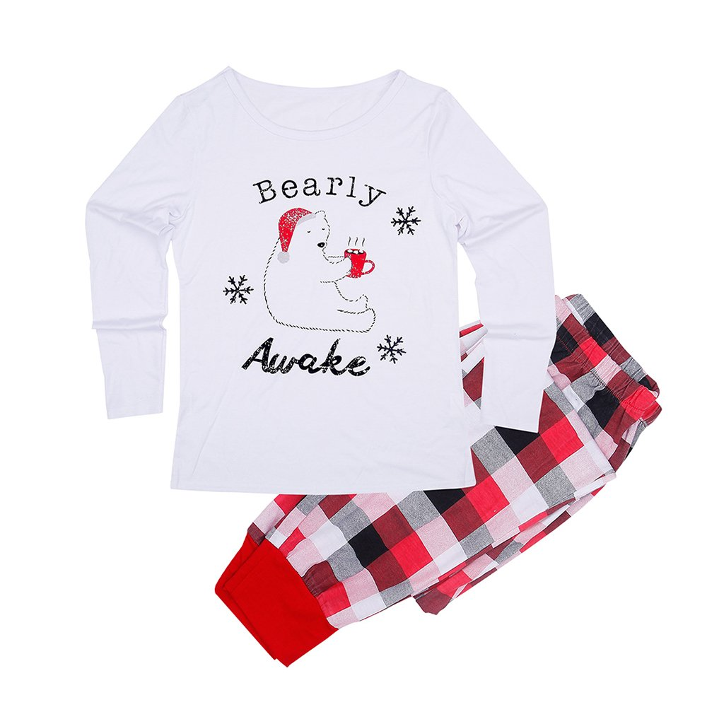 KINDOYO Daddy Mommy Children Baby Little Bear Family Pyjama Set Outfit Christmas