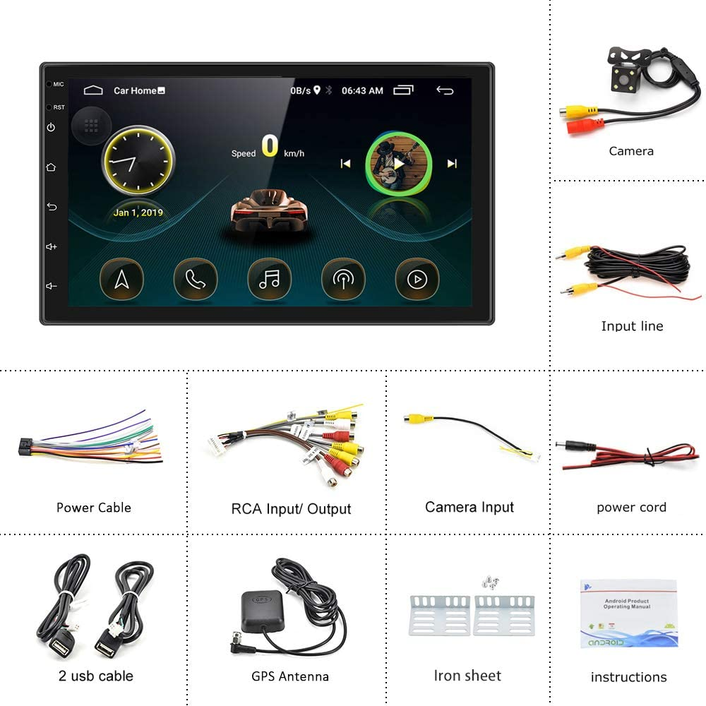7 inch Double Din Stereo Android Car Radio Touch Screen Bluetooth ...