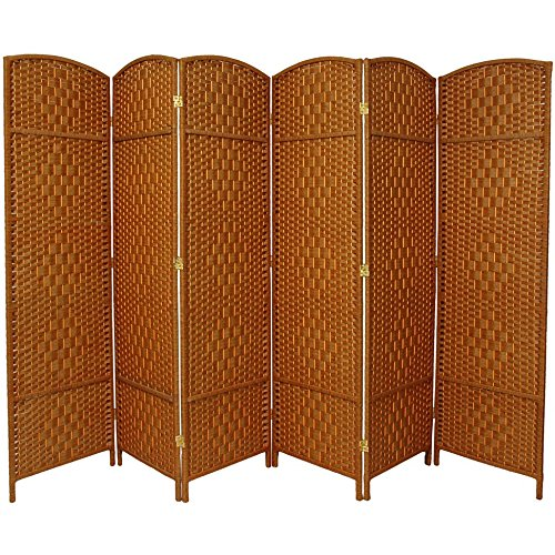 Oriental Furniture 6 ft. Tall Diamond Weave Fiber Room Divider - Dark Beige - 6 Panel