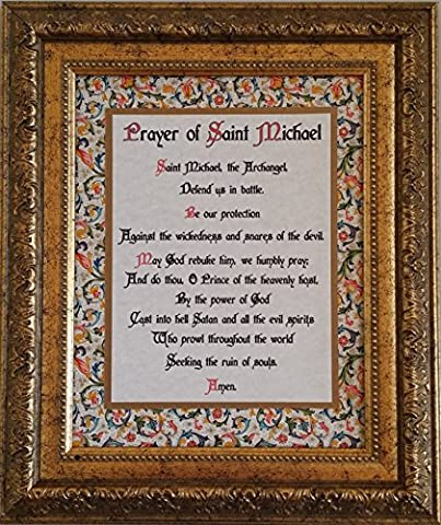 Prayer of St. Michael - Framed Inspirational Catholic and Christian Wall Art - Gift for Priest, Pastor, Deacon, Elder, and any Person of (Catholic Deacon Gifts)