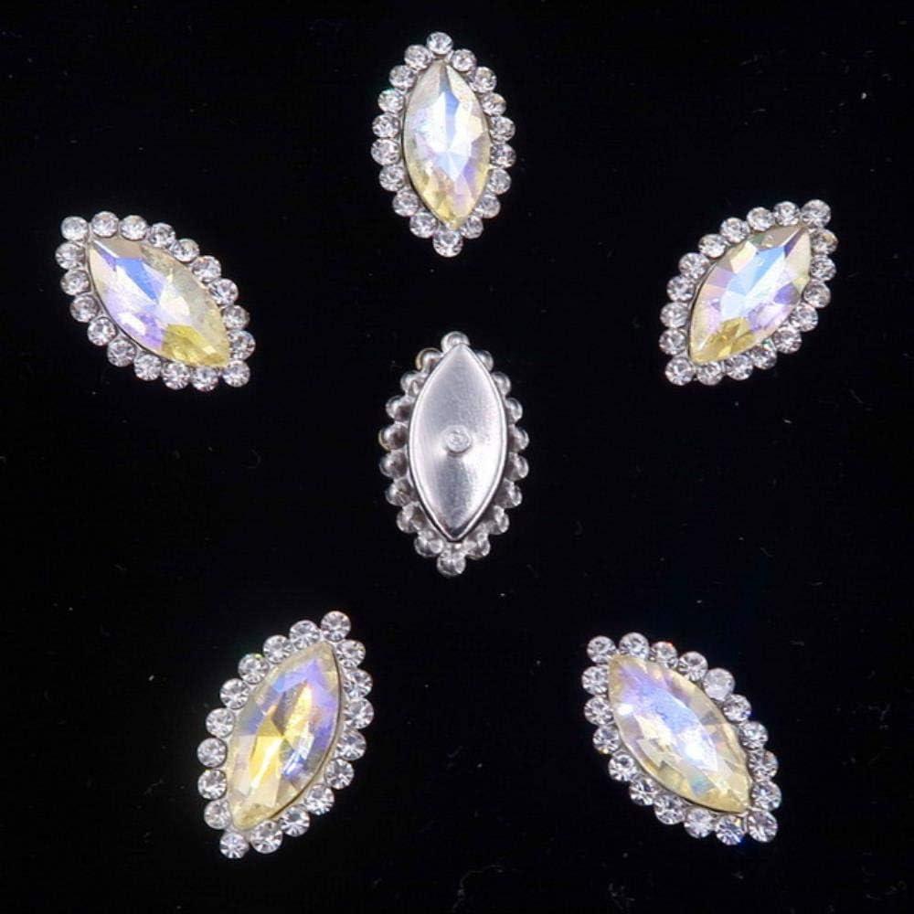 Cristal de vidrio AB de 4 * 8 mm 7 * 15 mm con diamantes de imitación Configuración de garra de plata Forma de marquesa Coser en el vestido de novia de diamantes de imitación, A6 AB, 4x8 mm 50 piezas