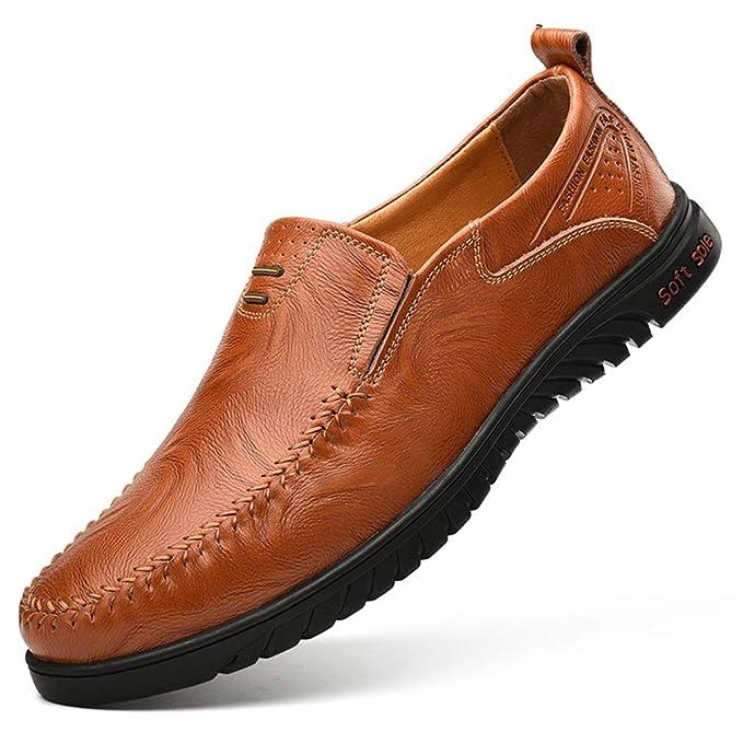 YAN Zapatos De Los Hombres De Cuero Primavera/Verano/Otoño Comodidad/Suelas De Luz Mocasines Y Slip-Ons Zapatos Para Caminar Negro/Amarillo/Marrón, ...
