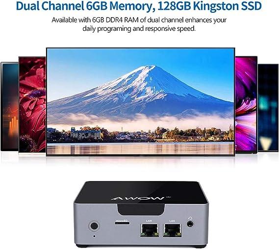 AWOW Mini PC AK34 Windows 10 6GB DDR4 128GB SSD Desktop Computer Intel Celeron N3450 4K HD/Dual LAN/2.4G+5G WiFi/BT 4.2/HDMI