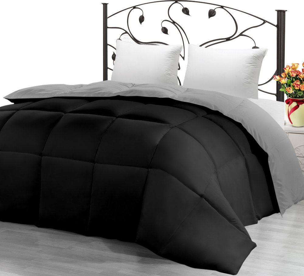 Utopia Bedding Ultra Soft Reversible Down Alternative Comforter Twin - Black/Grey - All Season Comforter and Year Round Comfort - Microfiber and Box Stitched, 3D Hollow Siliconized Filling