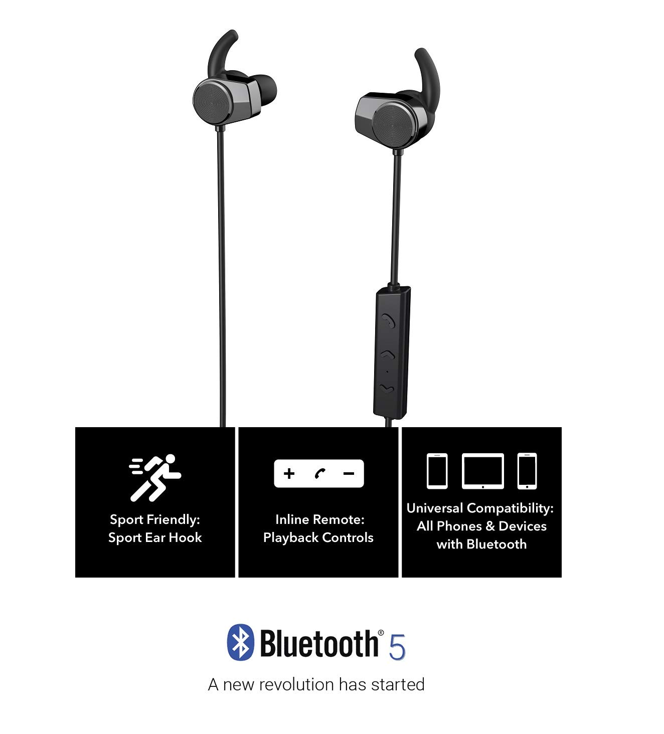 c82204a042e HYPERSENSE HE-301 Sports Bluetooth 5.0 Wireless Earphone Waterproof Earbuds  Magnetic Headset with Microphone (Black): Amazon.in: Electronics
