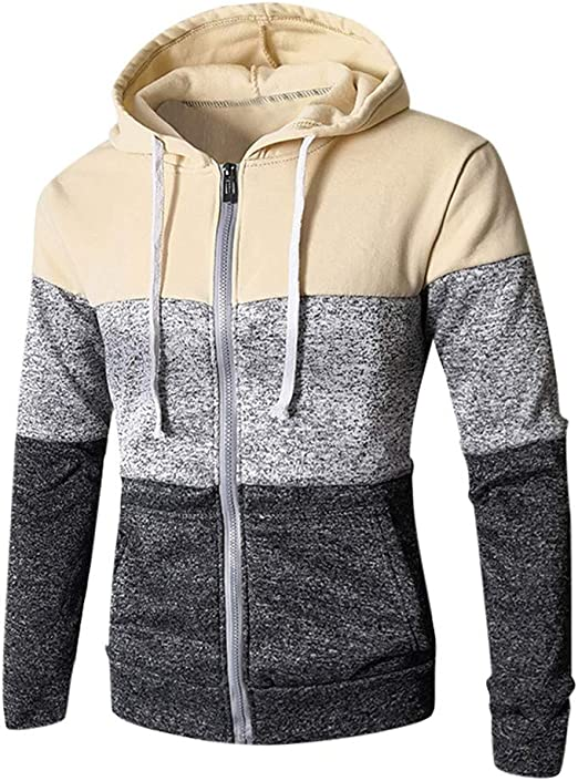 Mens 2# Basketball Player Long Sleeve Full-Zip Hooded Sweatshirt With Pockets