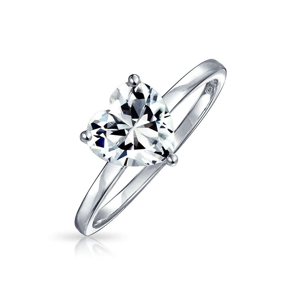Bling Jewelry 925 Sterling Silver Heart Shaped CZ Solitaire Engagement Ring 2ct - Size 8