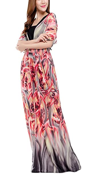 IYISS Woman Plus Size Bohemian Chiffon Maxi Dress with Sleeves