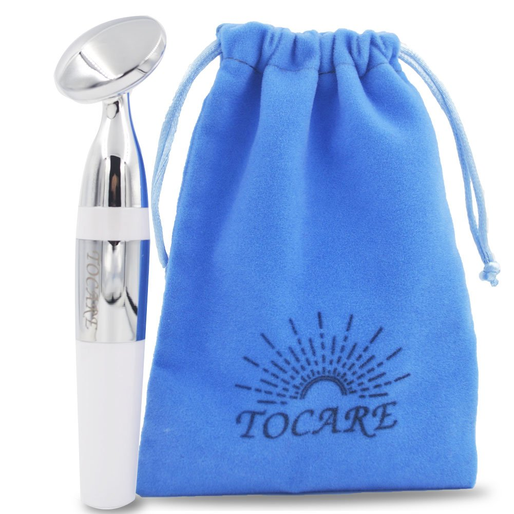 Anti Aging Face Massager, Ultrasonic Ion Facial Eye Spa Massager Roller by TOCARE to Help Skin Tightening and Wrinkle Removal| Skin care Cream Serum Oil Booster(white)