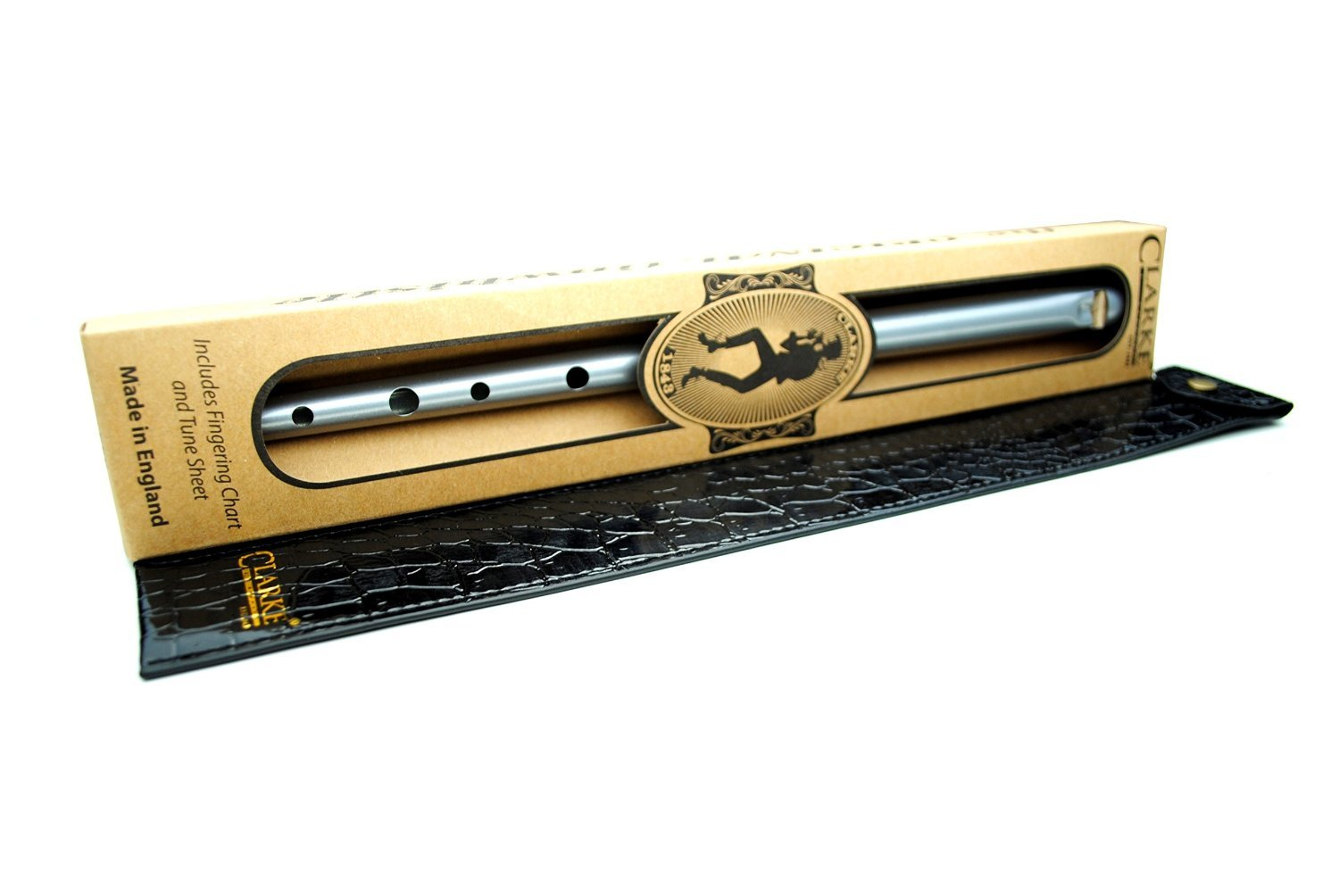 Clarke Silver Original C Tin Penny Whistle wth Gift Box & Black Whistle Pouch ONC-L