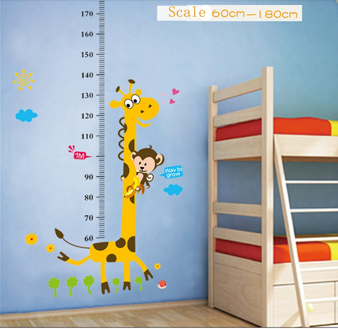 Kids Growth Height Chart Measure Rule Removable Vinyl Decal Sticker Wall Decor Giraffe&Monkey