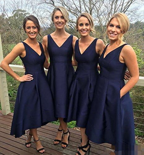 Bainjinbai V-Ausschnitt Marine Blau Abendkleider BrautjungfernKleider Cocktail Party Kleider