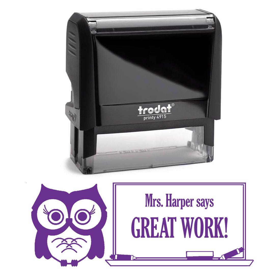 Purple Ink, Owl, Customizable Great Work Teacher Stamp, Self Inking, Homework Personalized School Work Stamp, Customized Unique Gift, Personal Classroom Stamper