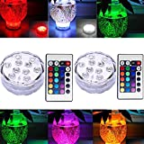 2X Waterproof Submersible Colour Changing LED Lights Battery Powered Remote Control for Vase, Christmas Decorations, Wedding, Pa