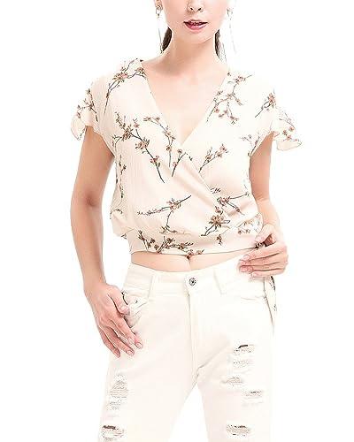 Mujer Camisa De Gasa Flores De Manga Corta Camiseta