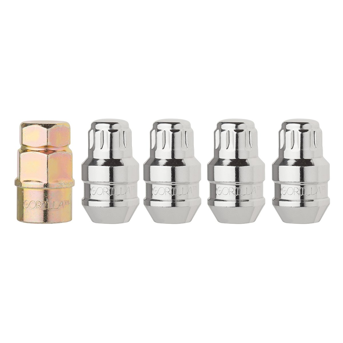 DPAccessories LCB3L2HC-CH06LK4 Set of 4 Chrome Closed Acorn Locking Lug Nuts/Wheel Locks - 1/2-20 - Dual Hex Wheel Lock Set