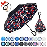 : ZOMAKE Double Layer Inverted Umbrella Cars Reverse Umbrella, UV Protection Windproof Large Straight Umbrella for Car Rain Outdoor With C-Shaped Handle(Rose)