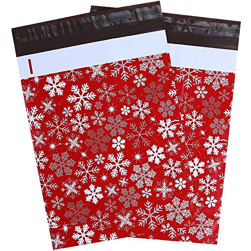 100 Pcs 10x13 Winter Snowflakes Designer Poly Mailers, Ohuhu Christmas Envelopes Shipping Bags with Self Seal Adhesive, Waterproof and Tear-Proof Postal Bags, Red