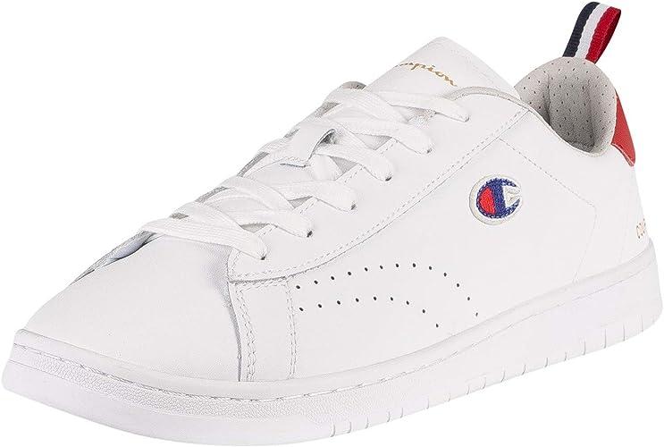 Champion de los Hombres Zapatillas de Deporte con Parche Court Club, Blanco: Amazon.es: Zapatos y complementos