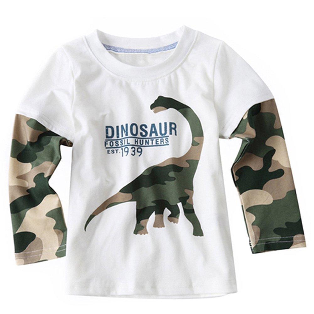 VIYOO Toddler Boys' Long Sleeve T-Shirt 100% Soft Cotton Tee Shirt