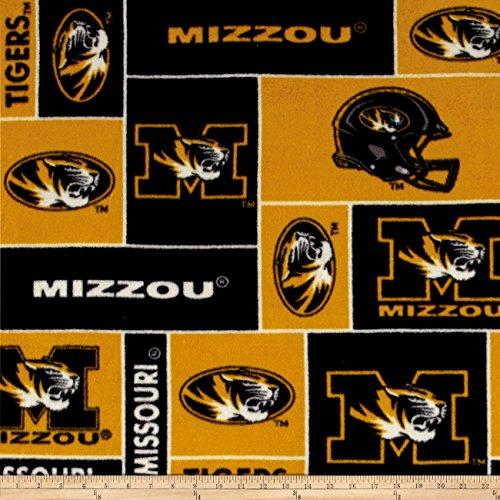Sykel Enterprises Collegiate Fleece University of Missouri Blocks Fabric by The Yard, Black/Gold (Missouri Tigers Fabric)