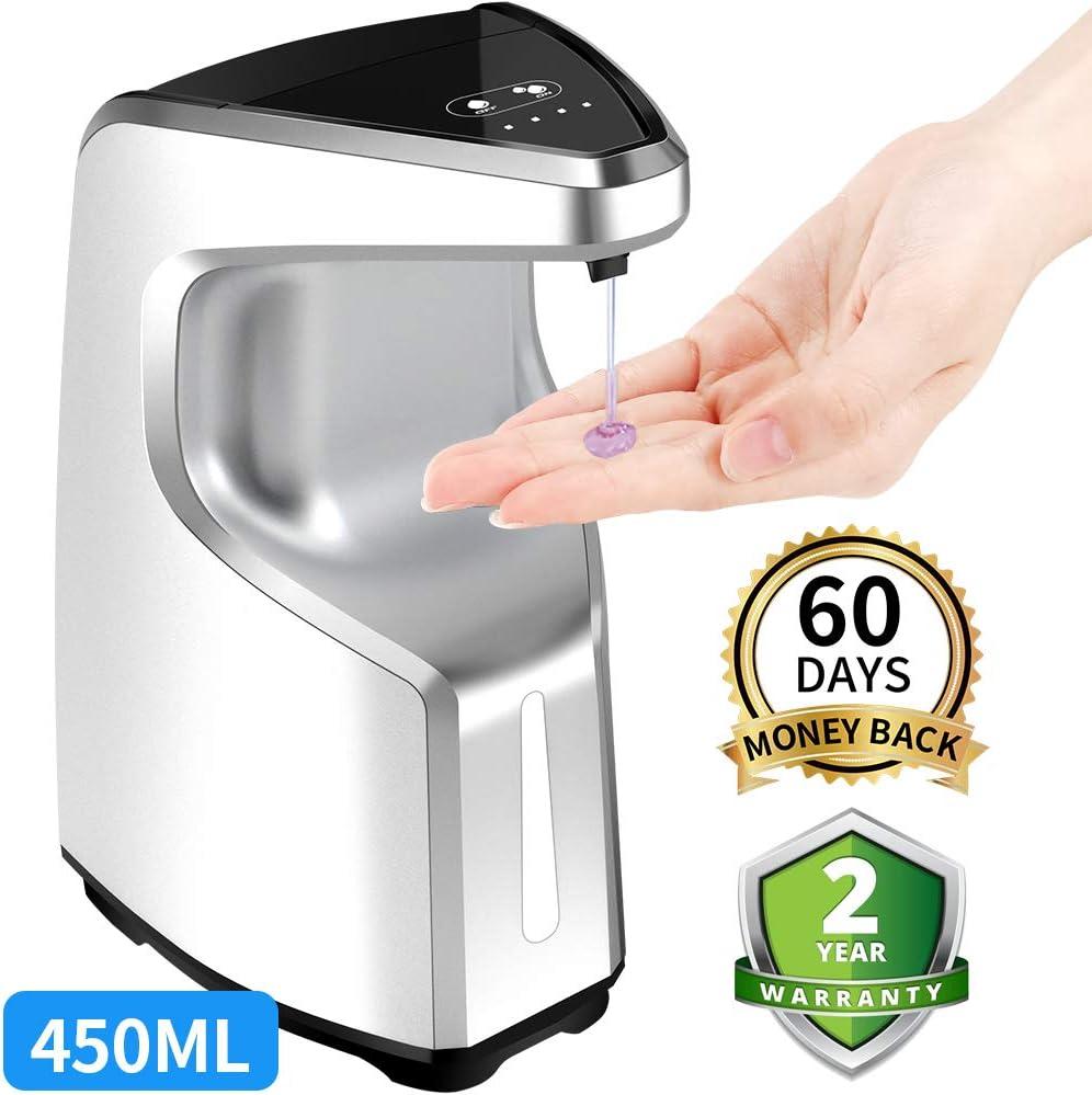 Hand Sanitizer Dispenser, Touchless Soap Dispenser, Automatic Soap Dispenser, Contactless Liquid Soap Dispenser for Kitchen Bathroom Office, w/Adjustable Soap Volume , Wall Mount/ Countertop, 15.2 oz