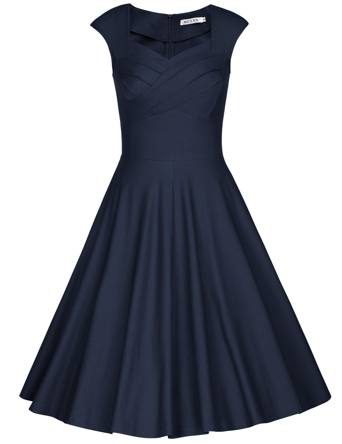 MUXXN Women's 1950s Vintage Retro Capshoulder Party Swing Dress (L, Blue)
