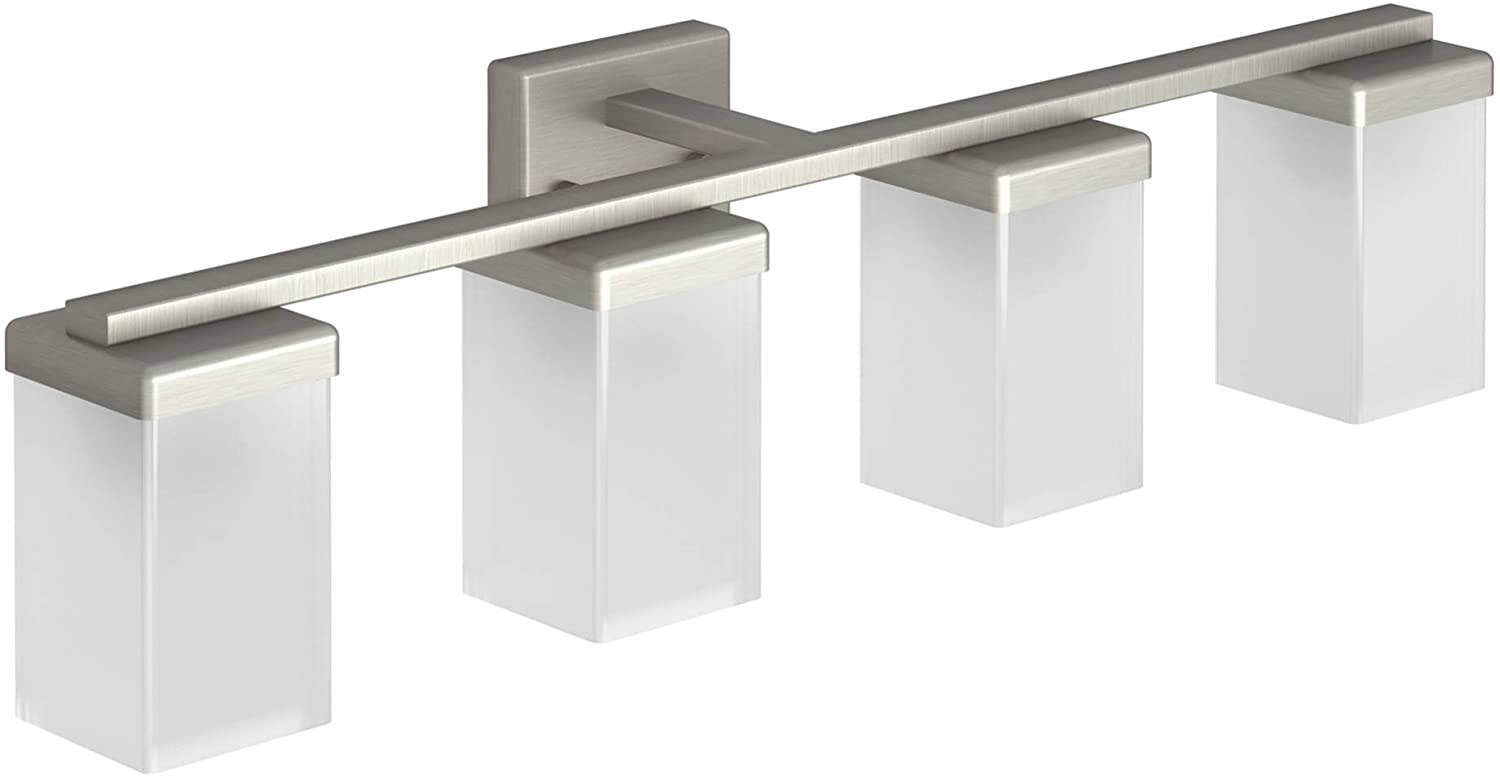 Moen YB8864BN 90 Degree 4-Light Dual-Mount Bath Bathroom Vanity Fixture with Frosted Glass, Brushed Nickel