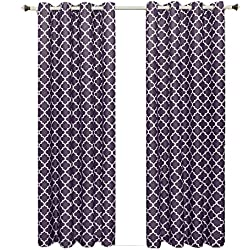 Meridian Purple Grommet Room Darkening Window Curtain Panels, Pair / Set of 2 Panels, 52x84 inches Each, by Royal Hotel