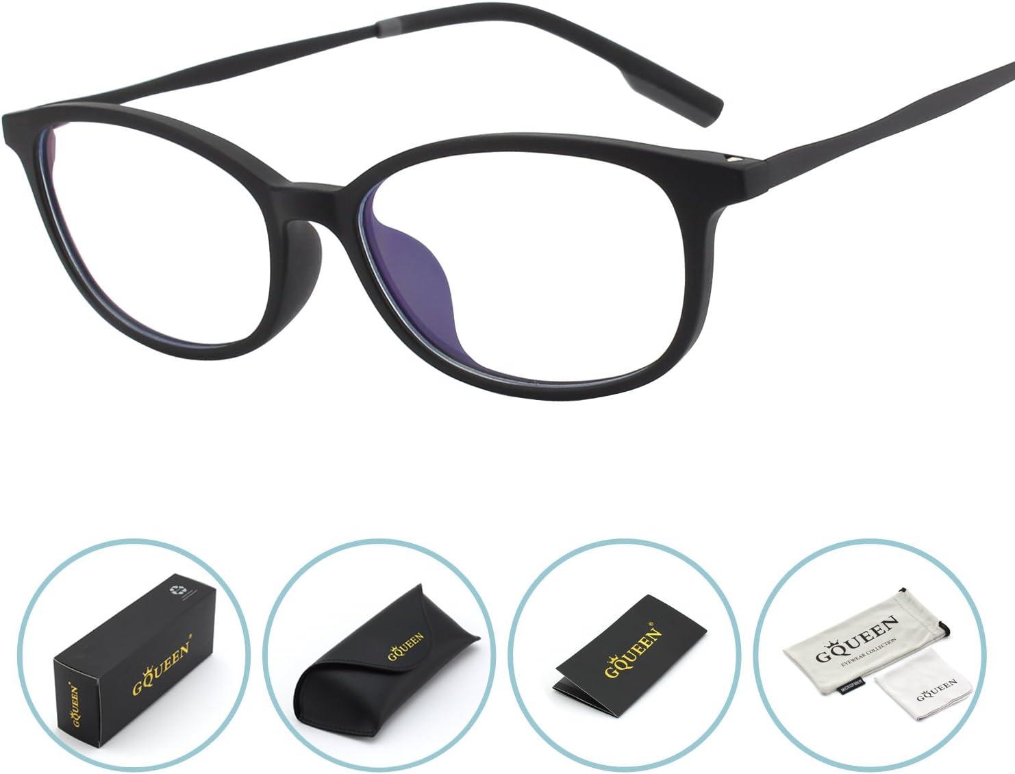 GQUEEN Gafas Protectoras con Bloqueo de luz Azul, Fatiga Ocular antideslumbrante con Lente Transparente con Marco Mate TR90, GQ78